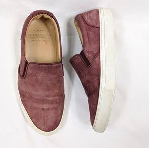 GREATS brand red suede leather slip on sneakers
